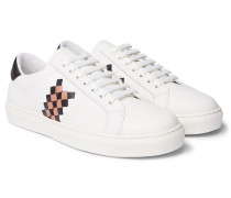 Intrecciato-panelled Leather Sneakers