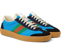 Jbg Webbing, Suede And Leather-trimmed Nylon Sneakers - Light blue