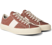 Cambridge Leather-trimmed Velvet Sneakers - Pink