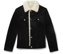 Slim-Fit Faux Shearling-Trimmed Cotton-Corduroy Trucker Jacket
