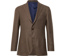 Brown Kincaid No 1 Unstructured Wool-Hopsack Blazer