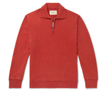 Slim-Fit Loopback Cotton-Jersey Half-Zip Sweater