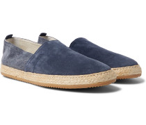 Suede And Canvas Espadrilles - Navy