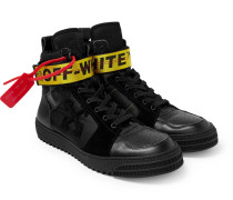 Industrial Full-grain Leather, Suede And Ripstop High-top Sneakers - Black