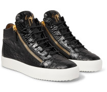 Logoball Croc-effect Leather High-top Sneakers