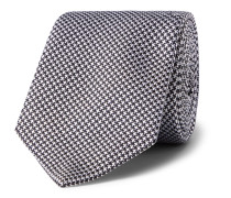 8cm Puppytooth Silk-jacquard Tie - Navy