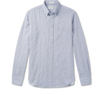 Sander Button-down Collar Striped Cotton Half-placket Shirt