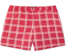 Short-length Checked Swim Shorts - Red