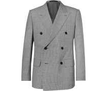 Harry's Grey Puppytooth Wool And Linen-blend Suit Jacket