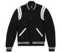 Leather-trimmed Wool-blend Bomber Jacket