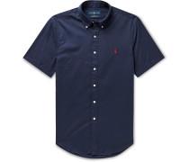 Slim-Fit Button-Down Collar Garment-Dyed Cotton-Twill Shirt