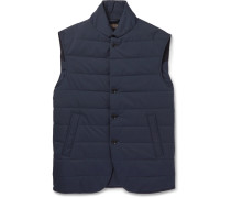 Windstorm Suede-trimmed Quilted Shell Gilet