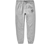 Embroidered Mélange Fleece-back Cotton-blend Jersey Sweatpants - Gray