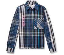 Printed Checked Cotton-Blend Flannel Shirt
