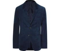 Navy Slim-fit Unstructured Stretch Cotton And Cashmere-blend Corduroy Blazer