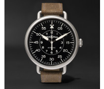 Ww1-92 45mm Steel And Distressed Suede Watch