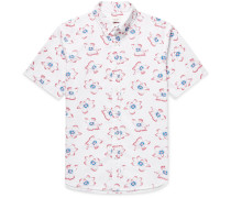 Button-down Collar Printed Cotton-seersucker Shirt
