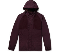 Suede-trimmed Garment-dyed Shell Hooded Jacket