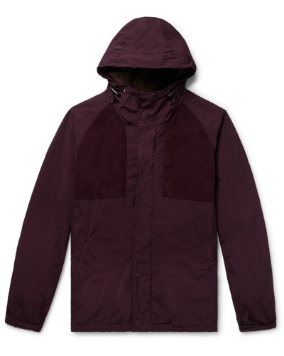 Suede-trimmed Garment-dyed Shell Hooded Jacket - Merlot