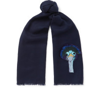 Embroidered Wool-twill Scarf