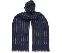 Fringed Embroidered Linen Scarf - Navy