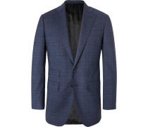 Navy Slim-fit Prince Of Wales Checked Wool-blend Suit Jacket - Navy