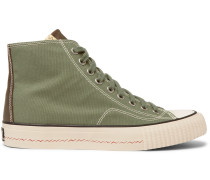 Skagway Leather-trimmed Canvas High-top Sneakers - Green