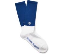 Skull-intarsia Ribbed Cotton-blend Socks - Blue