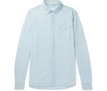 Crosby Button-down Collar Washed-denim Shirt - Blue