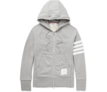 Striped Loopback Cotton-Jersey Zip-Up Hoodie