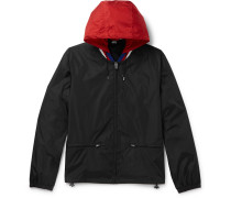 Wool-trimmed Logo-print Shell Hooded Jacket