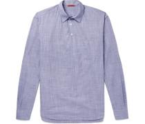 Mélange Cotton Half-placket Shirt