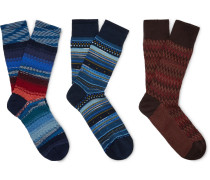 Three-pack Crochet-knit Cotton-blend Socks