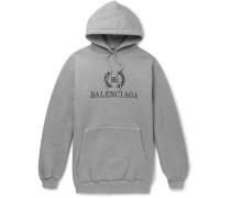 Oversized Logo-print Fleece-back Cotton-blend Jersey Hoodie - Gray