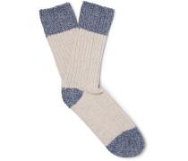 Two-tone Cotton-blend Socks - Ecru