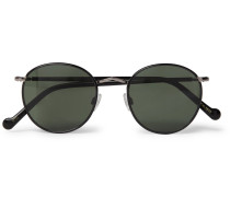 Zev Round-frame Enamelled Silver-tone Sunglasses