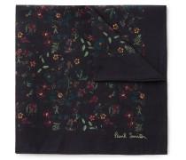 Floral-print Cotton-voile Pocket Square - Navy