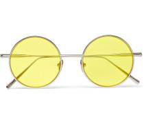 Scientist Round-frame Silver-tone Sunglasses