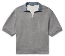 Denim-trimmed Loopback Cotton-blend Jersey Polo Shirt