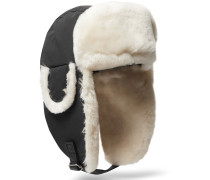 Shearling-trimmed Shell Trapper Hat