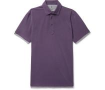 Slim-fit Jersey-trimmed Cotton-piqué Polo Shirt - Purple