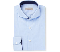 Light-blue Slim-fit Cutaway-collar Puppytooth Cotton Shirt - Light blue