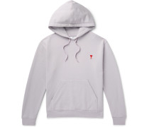 Embroidered Loopback Cotton-jersey Hoodie - Lilac