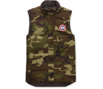 Garson Slim-fit Camouflage-print Quilted Shell Down Gilet - Green
