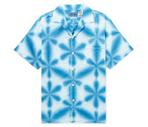 Camp-collar Tie-dyed Cotton-canvas Shirt - Blue