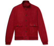 Valstarino Slim-fit Unlined Suede Bomber Jacket - Red