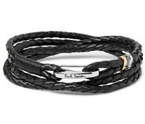 Woven Leather Wrap Bracelet - Black