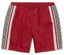 Wide-leg Long-length Striped Logo-print Swim Shorts - Red