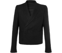 Black Slim-fit Double-breasted Camel Hair And Linen-blend Blazer