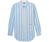 Striped Cotton-poplin Shirt - Light blue